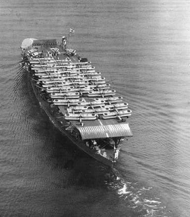 Stern view of Akagi Carrier with Mitsubishi B1M and B2M bombers (1934)