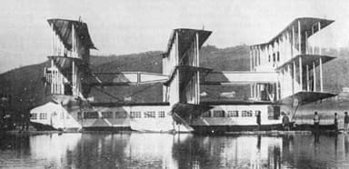 The Caproni Ca.60 on Lake Maggiore on the South Side of the Alps