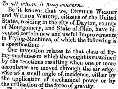 The Wright Brothers Patent in U.S. Patent and Trademark Office