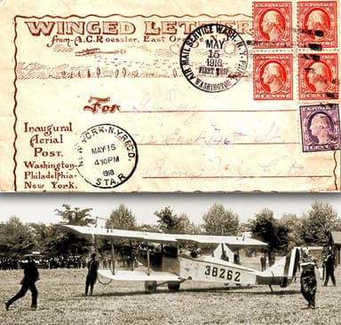 The first U.S. Airmail takes off from Washington, D.C. on May 15, 1918