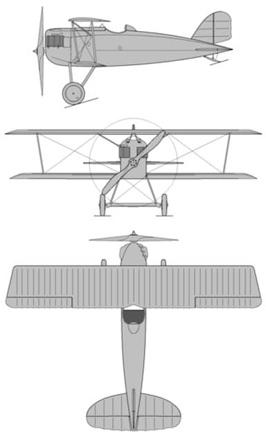Three View Drawing of Aero A.18