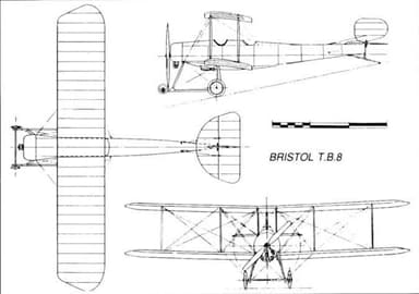 Three View Drawing of Bristol T.B.8 with Wheeled Undercarriage