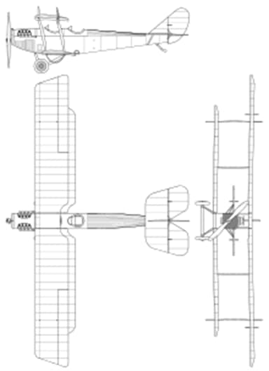Three-View Drawing of Curtiss JN-4 Jenny