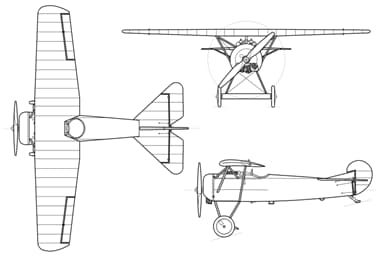 Three-View Drawing of Fokker D.VIII