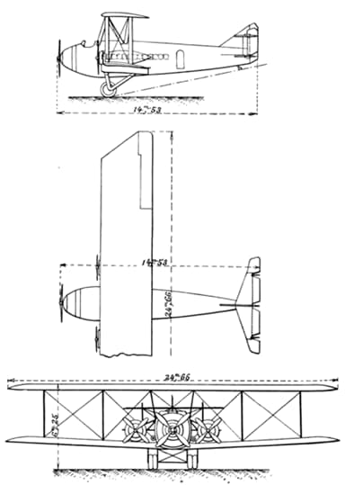 Three View Drawing of Latécoère 4 Without Enclosed Cockpit