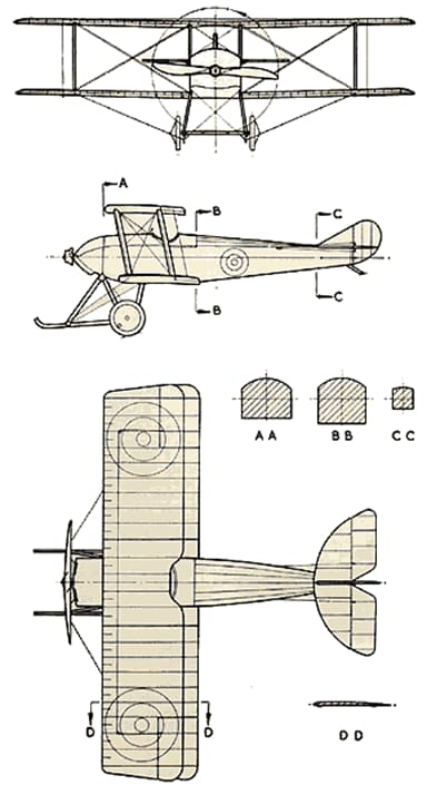 Three-View Drawing of Sopwith Tabloid