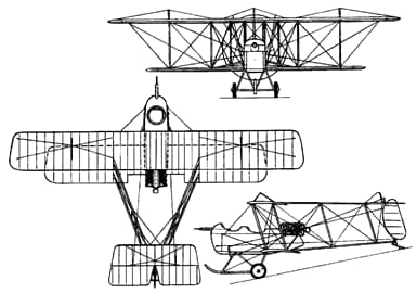 Three-View Drawing of Vickers E.F.B.1 'Destroyer'