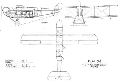 Three View Drawing of de Havilland DH.34