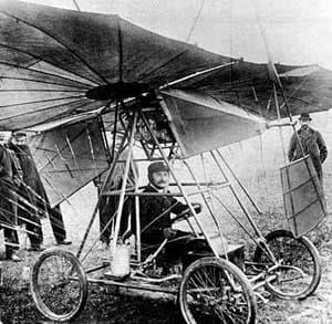 Traian Vuia in his Vuia I flying machine in 1906