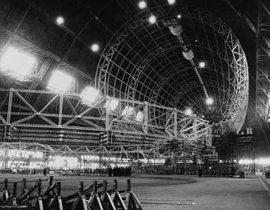 USS Macon Under Construction Showing Diagonal Girders in Rings (1932)