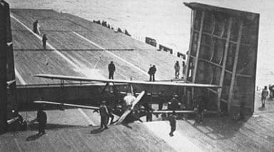 View of Béarn Flight Deck Operations (Including Levasseur PL.2 ?)