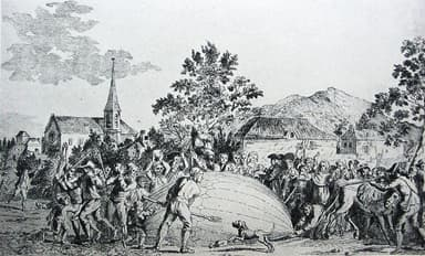 Villagers Attack Balloon built by Jacques Charles and the Robert Brothers