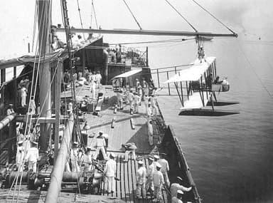 Wakamiya Launching a Farman Seaplane During the Siege of Tsingtao