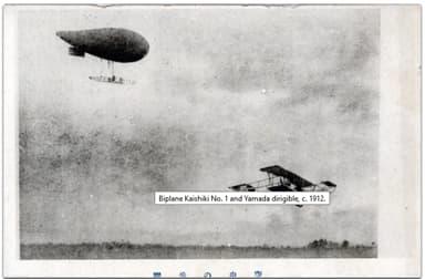 Yamada dirigible and Kaishiki No. 1 biplane (c. 1911)