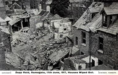 Zeppelin Bomb Damage Near Ramsgate UK Naval Base