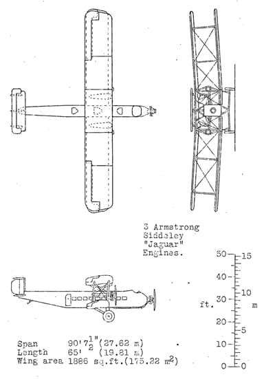 Armstrong Whitworth Argosy 3 View Drawing from NACA Aircraft Circular
