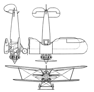 Bristol Bulldog 3-View Drawing from Aero Digest November 1930