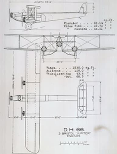 De Havilland DH.66 3 view drawing from NACA Aircraft Circular No.10