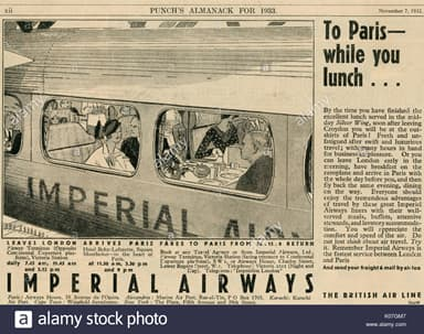 Imperial Airways Service 'To Paris While You Lunch (1933)