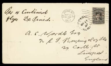 Mail Carried on the Four Continents Flight of 29,180 miles in 123 days