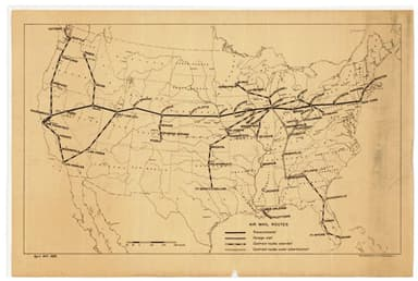 U.S. Post Office Department Map of Air Mail Routes, April 24, 1926