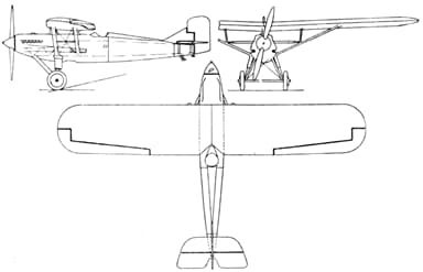 Westland Wizard 3-View Drawing from L'Air January 1,1929