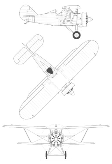 3-view Drawing of Polikarpov I-5