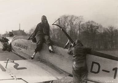 Aviator with Junkers Junior Sports Plane (Circa 1935)