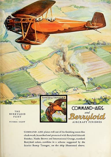 Berryloid Pigmented Dope Advertisement Showing Command-Aire 5C3