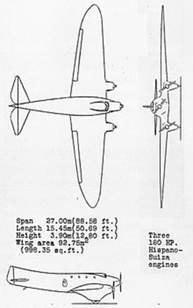 Couzinet 10 3-view Drawing from NACA Aircraft Circular No.77