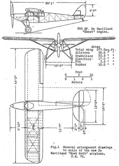 De Havilland DH.75 3-View Drawing from NACA Aircraft Circular No.91