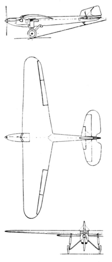 Fairey Long Range Monoplane 3-View from L'Aérophile September, 1929