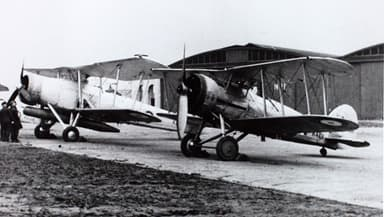 Gloster Gauntlet Mk I in the Foreground with a Fairey Swordfish
