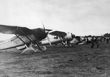 Line Up of PZL P-8, PZL P-7, and RWD-6 Fighter Aircraft
