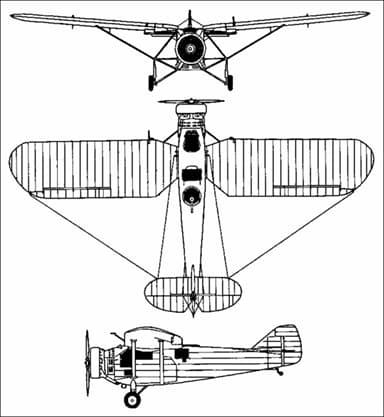 Mitsubishi K3M Three-View Drawing