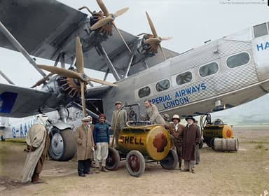 Refueling 'Hanno' in Palestine, October 1931 (Image Retouched)
