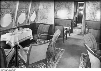 The Dining Room on the Dornier Do X 12-Engine Airplane