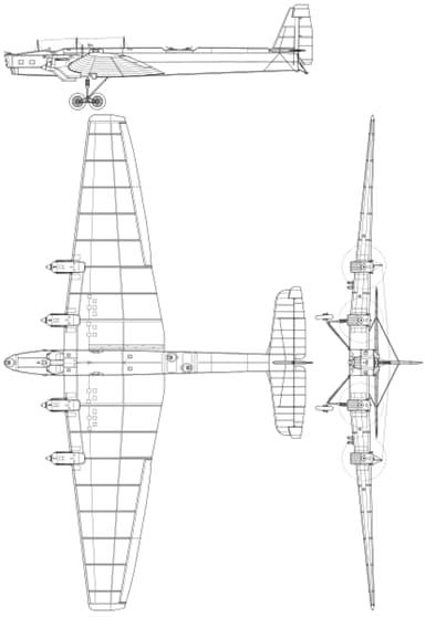 Three-View Drawing of Tupolev TB-3